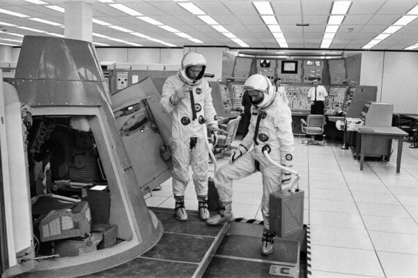 Astronaut's Aldrin and Freeman in the Gemini simulator